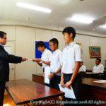 中学運動部の主将・副主将の認証式が行なわれました。 9月11日(火)